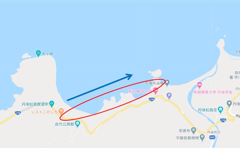 太陽の子 京丹後の海岸 平海海水浴場 丹後松島エリア グーグルマップで撮影場所