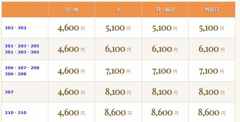 ホテルシルク 料金表