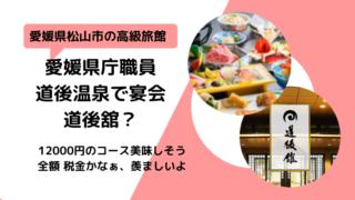 愛媛県庁送別会の道後温泉の場所はどこ?道後舘?黒川紀章設計 コース料理がおいしそう